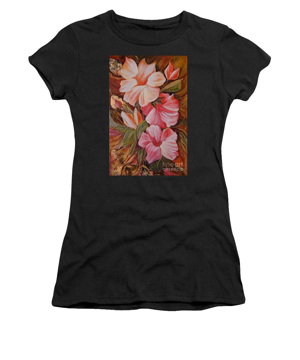 Abstract Women's T-Shirt (Athletic Fit) featuring the painting Flowers II by Silvana Abel