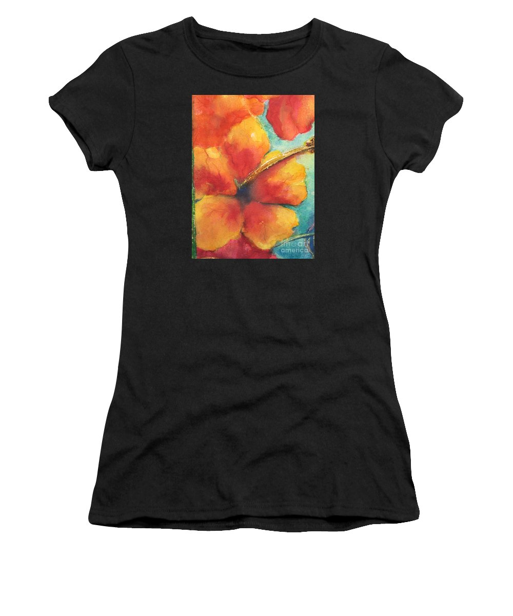 Fine Art Painting Women's T-Shirt (Athletic Fit) featuring the painting Flowers In Bloom by Chrisann Ellis
