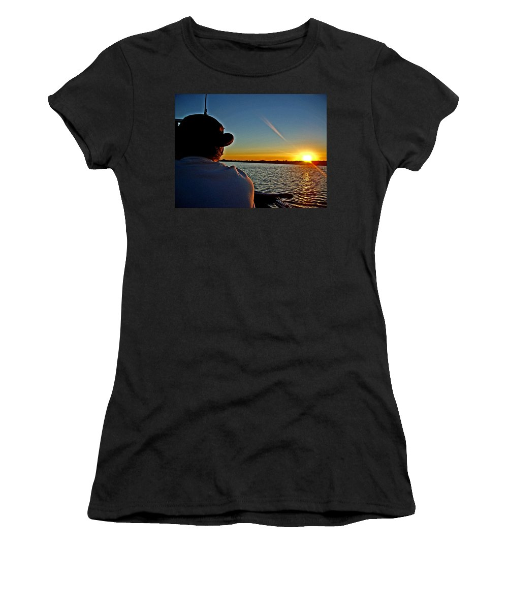 Sacramento River Delta Women's T-Shirt (Athletic Fit) featuring the photograph Going Fish'n by Joseph Coulombe