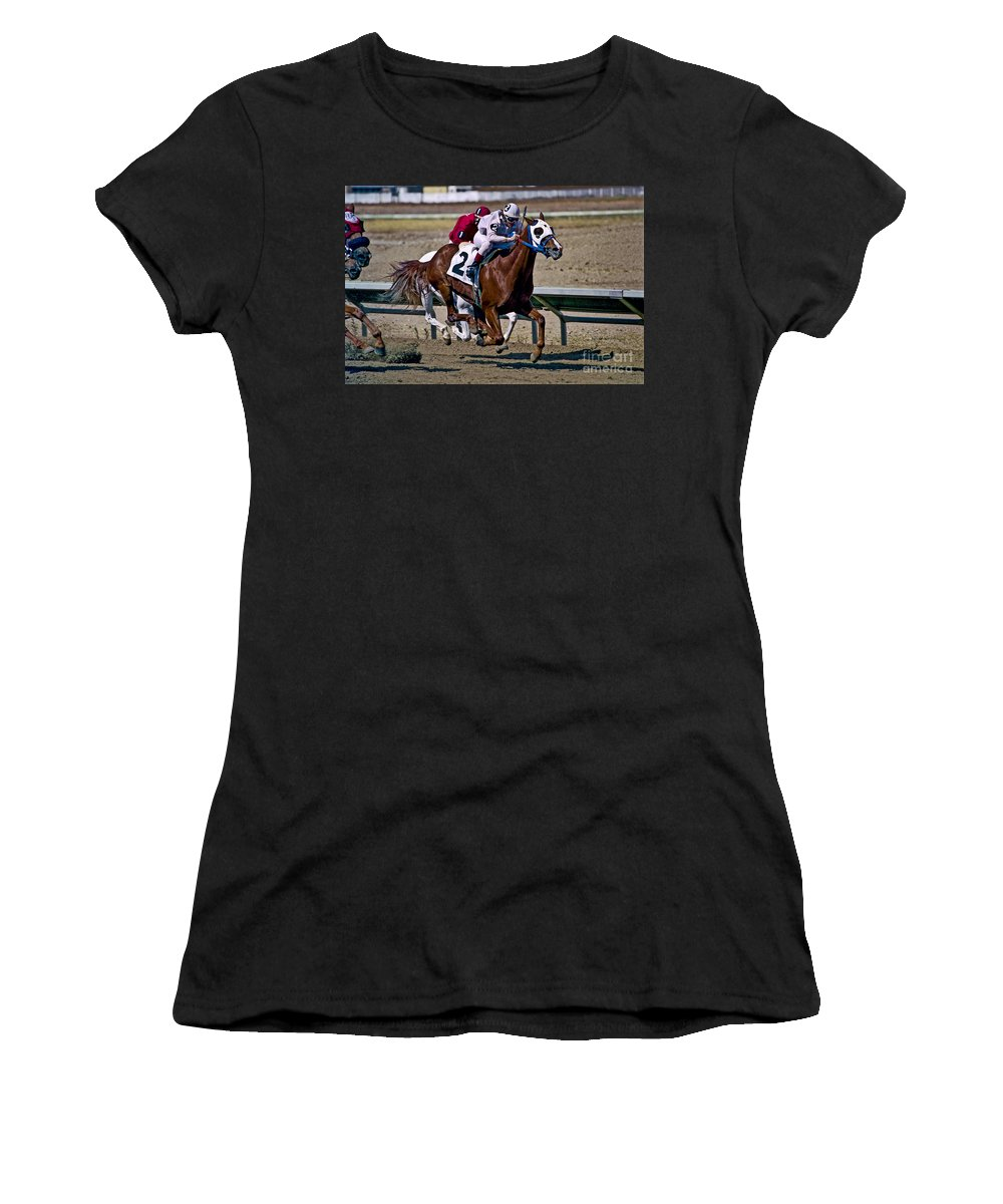 Racing Women's T-Shirt featuring the photograph Flying Hooves by Kathy McClure