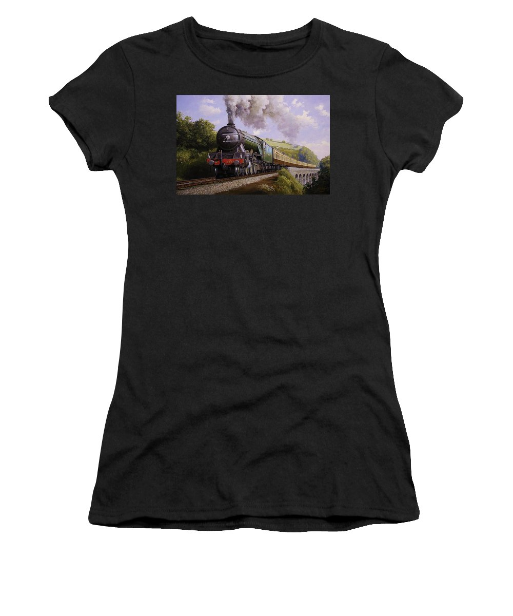 Art For Investment Women's T-Shirt (Athletic Fit) featuring the painting Flying Scotsman On Broadsands Viaduct. by Mike Jeffries