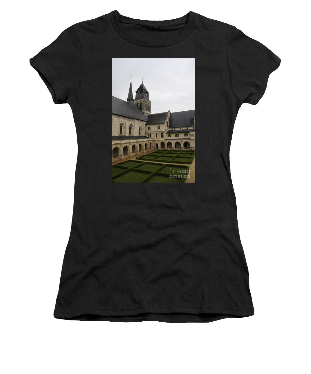 Cloister Women's T-Shirt featuring the photograph Fontevraud Abbey Courtyard - France by Christiane Schulze Art And Photography
