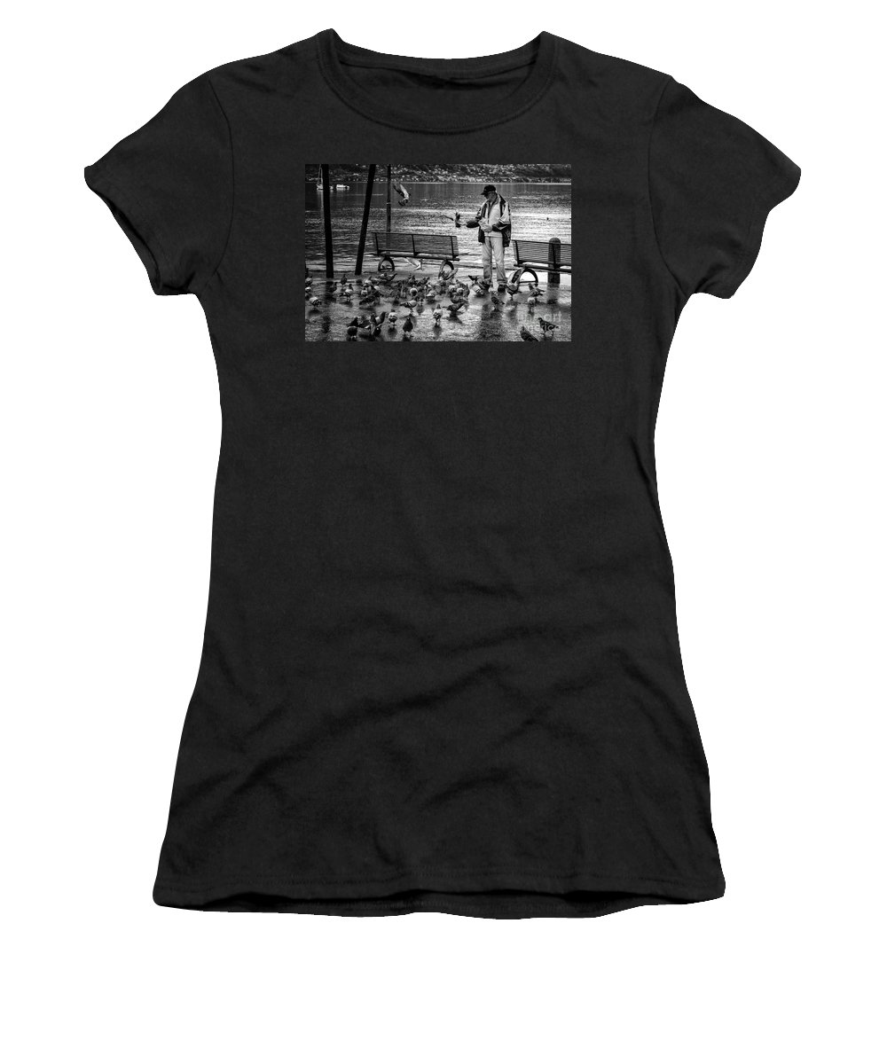 Switzerland Women's T-Shirt featuring the photograph For The Birds Bw by Timothy Hacker