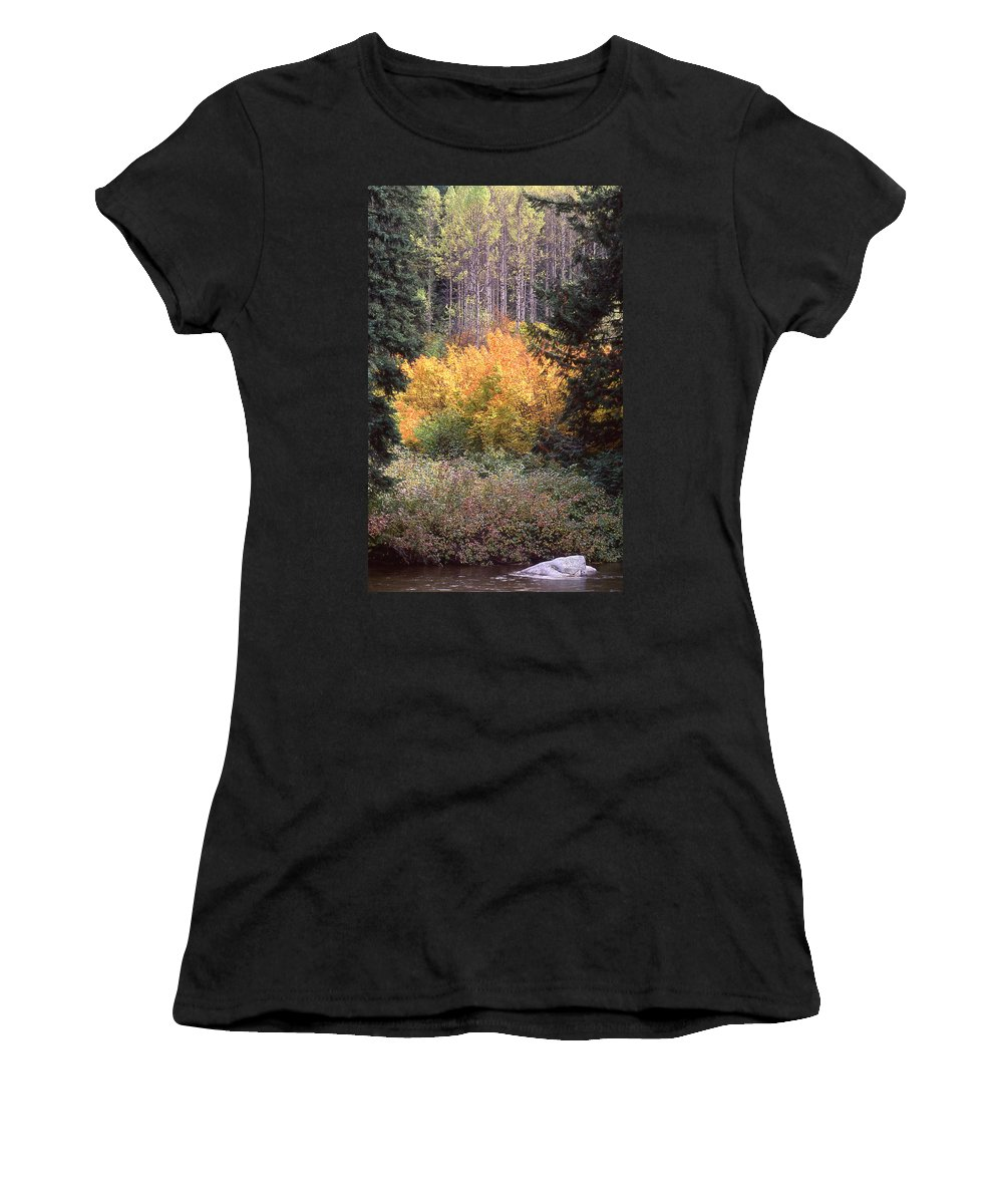 Colorful Leaves Women's T-Shirt (Athletic Fit) featuring the photograph Forest Fire by Ginny Barklow