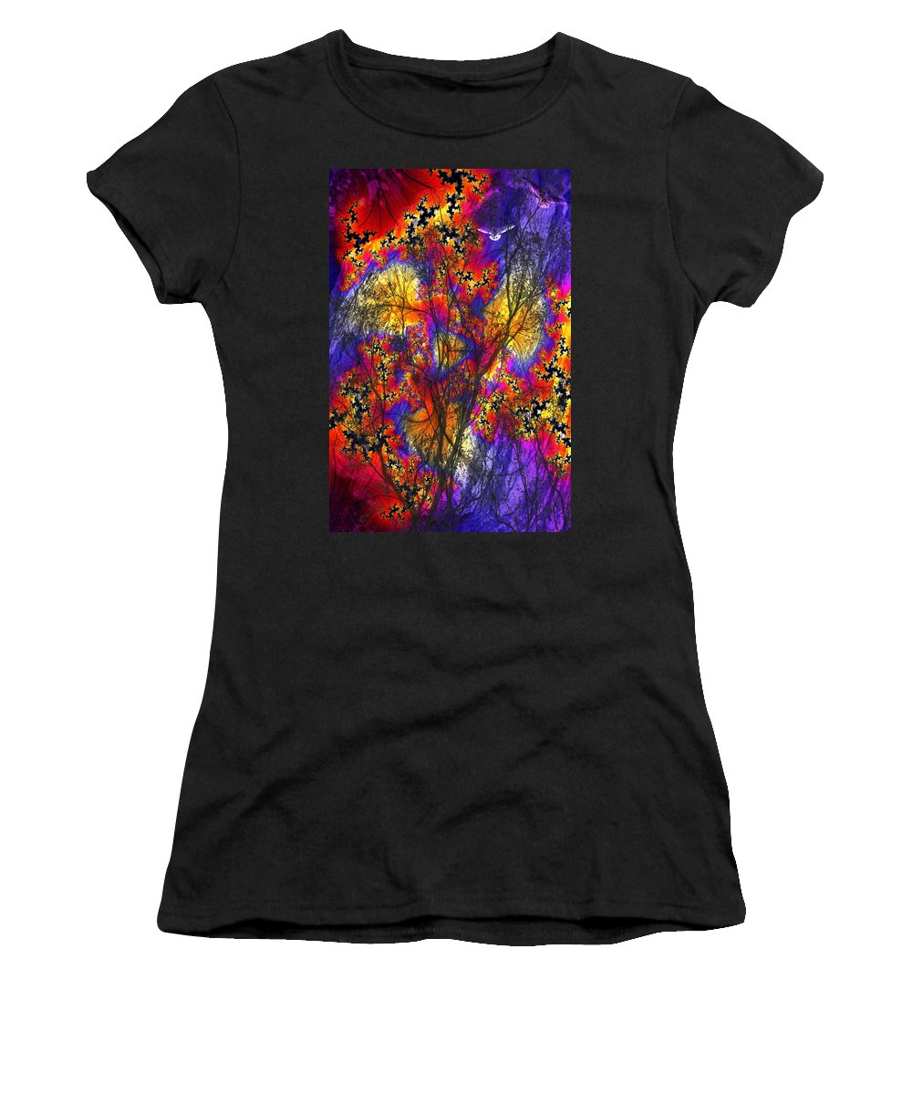 Forest Fire Women's T-Shirt (Athletic Fit) featuring the digital art Forest Fire by Lisa Yount