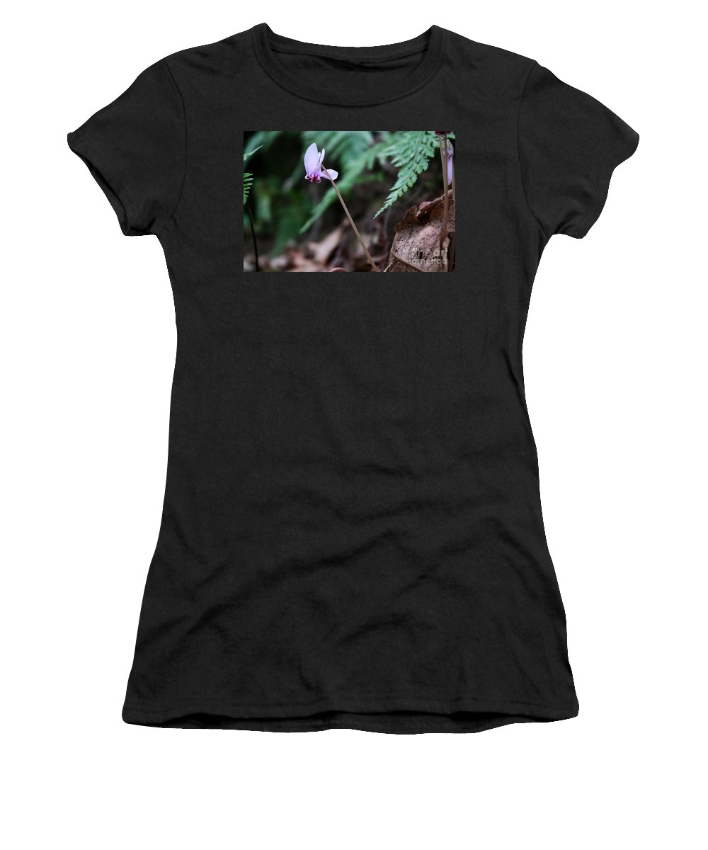 Wild Cyclamen Women's T-Shirt featuring the photograph Forest Joy by Violeta Ianeva