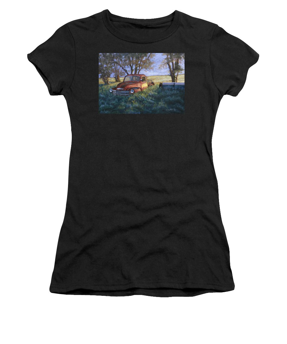 Pickup Truck Women's T-Shirt (Athletic Fit) featuring the painting Forgotten But Still Good by Jerry McElroy