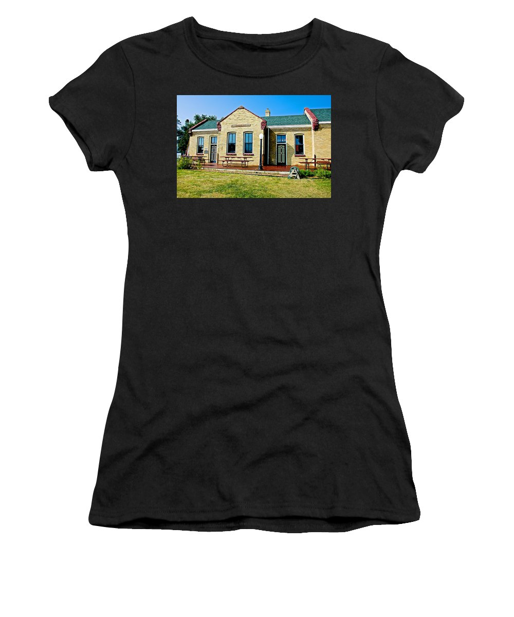 Former Rock Island Line Railroad Depot In Pipestone Women's T-Shirt featuring the photograph Former Rock Island Line Railroad Depot In Pipestone-minnesota by Ruth Hager