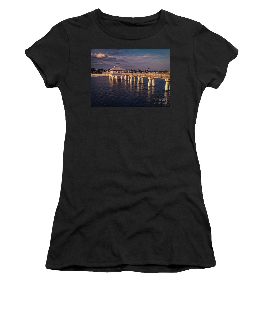 Florida Women's T-Shirt (Athletic Fit) featuring the photograph Fort Myers Beach Fishing Pier by Edward Fielding