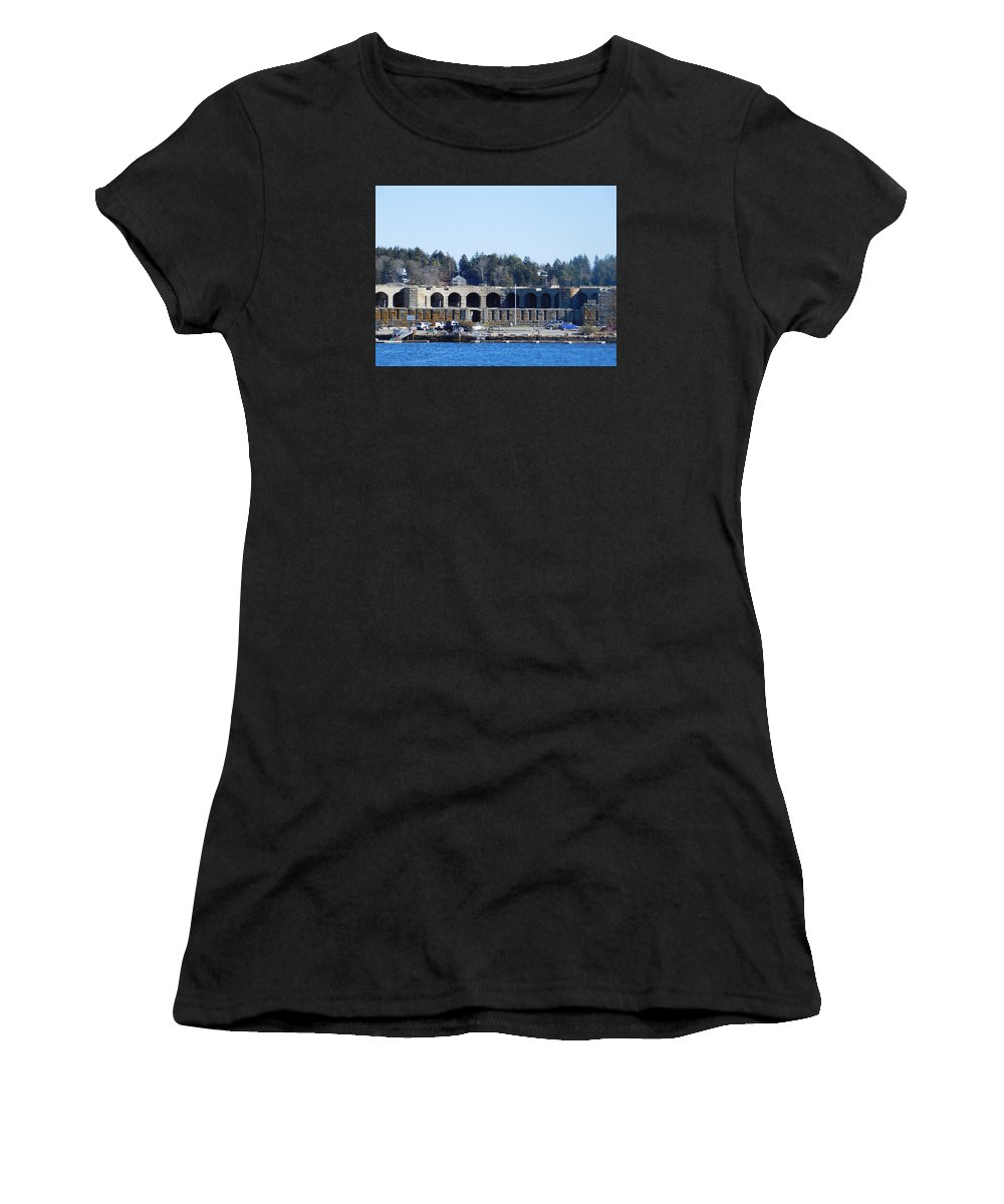 Fort Popham Women's T-Shirt (Athletic Fit) featuring the photograph Fort Popham In Maine by Catherine Gagne