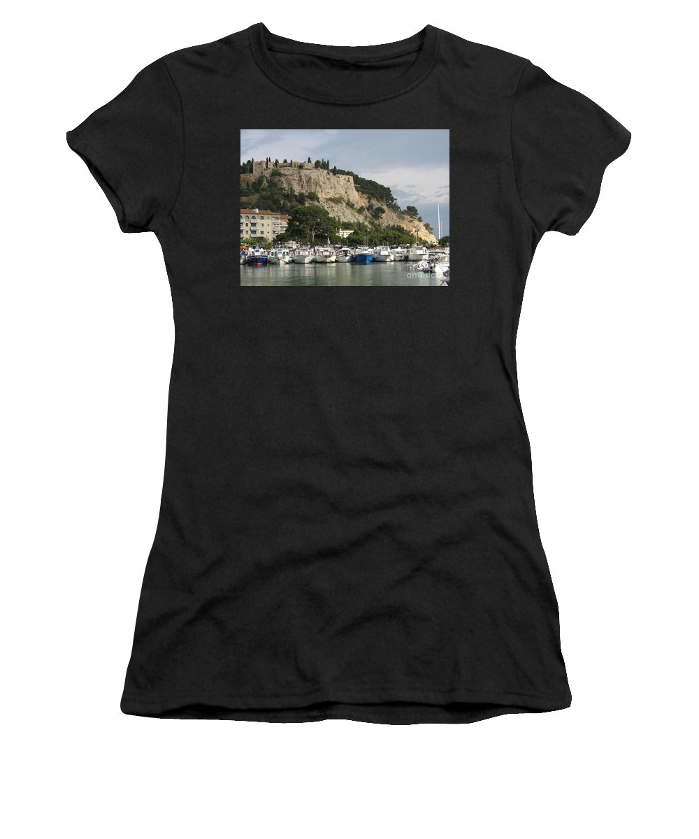 Fortress Women's T-Shirt (Athletic Fit) featuring the photograph Fortress And Harbor Cassis by Christiane Schulze Art And Photography