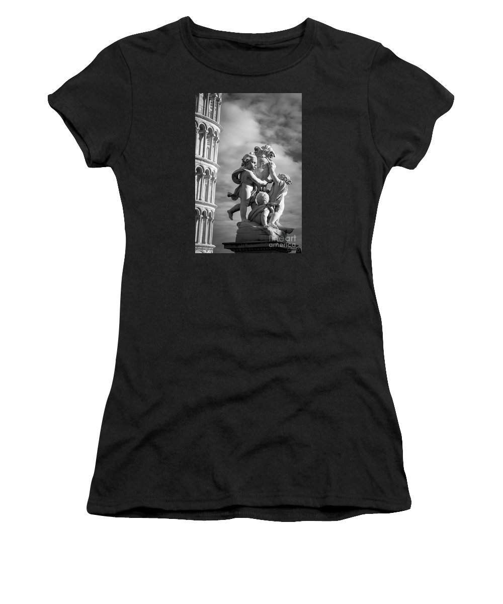 Italy Women's T-Shirt featuring the photograph Fountain With Angels by Prints of Italy