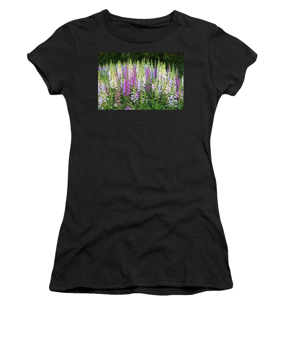 Garden Women's T-Shirt (Athletic Fit) featuring the photograph Foxglove Garden In Golden Gate Park by Carol Groenen