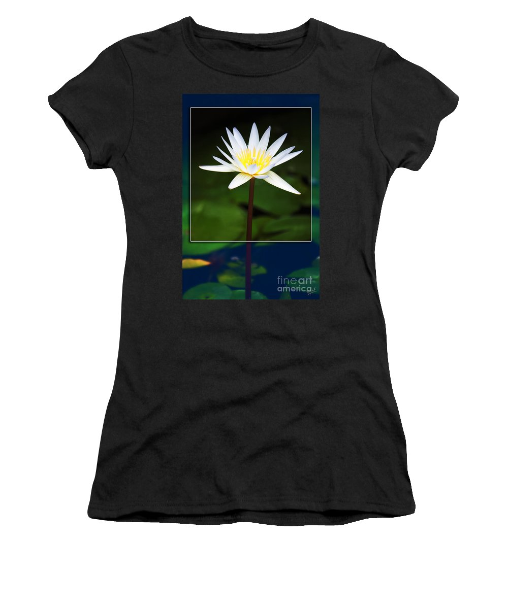 White Flower Women's T-Shirt (Athletic Fit) featuring the photograph Framed Serenity by Nishanth Gopinathan