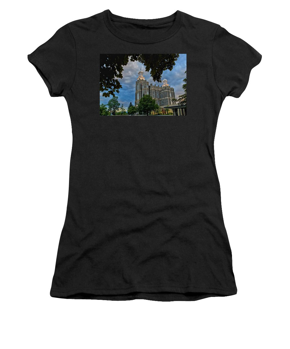 Logan Temple Women's T-Shirt (Athletic Fit) featuring the photograph Framed Temple by David Andersen