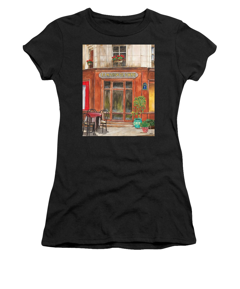 Restaurant Women's T-Shirt (Athletic Fit) featuring the painting French Storefront 1 by Debbie DeWitt