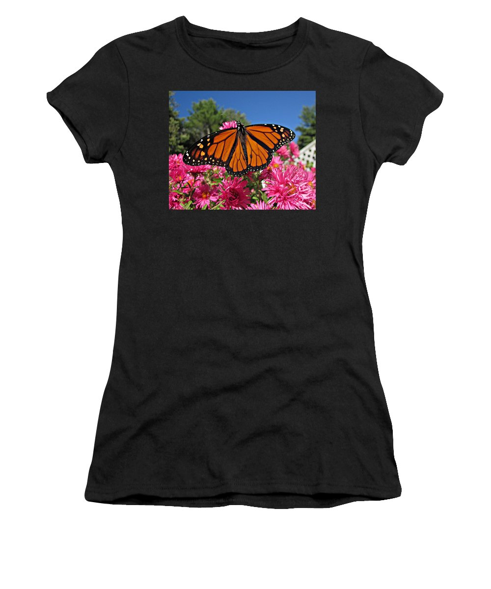 Monarchs Women's T-Shirt (Athletic Fit) featuring the photograph Fresh Monarch Butterfly by MTBobbins Photography