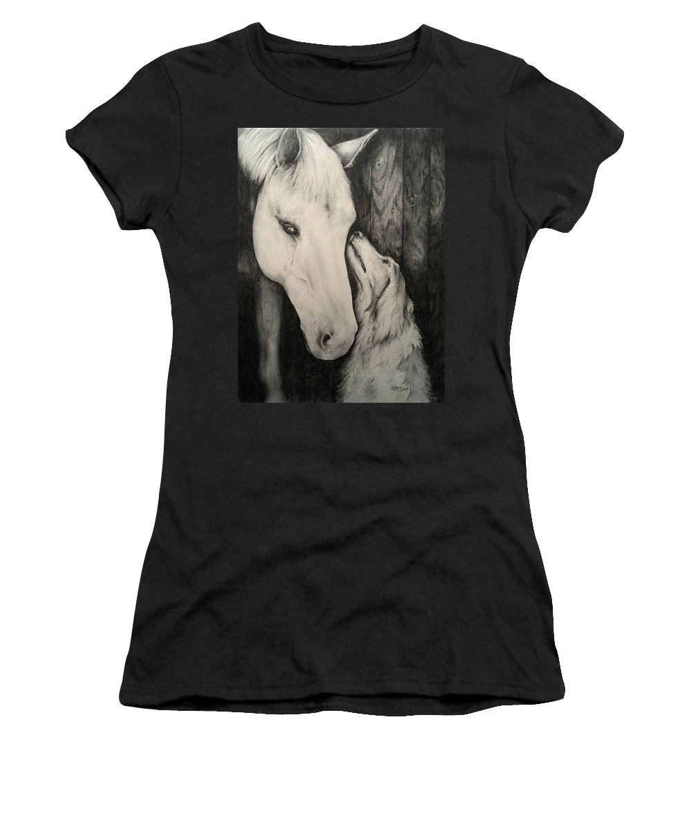 Horse Women's T-Shirt featuring the drawing Friends by Catherine Howley