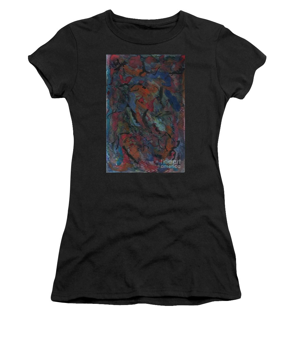 Abstract Women's T-Shirt featuring the painting From Deep Within by Myrtle Joy