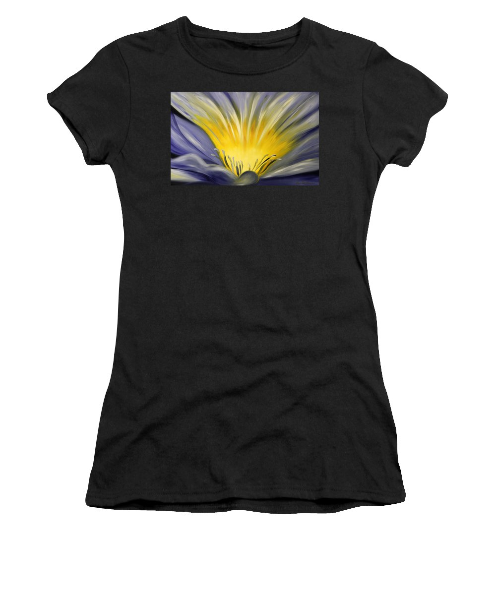 Blue Women's T-Shirt (Athletic Fit) featuring the painting From The Heart Of A Flower Blue by Gina De Gorna