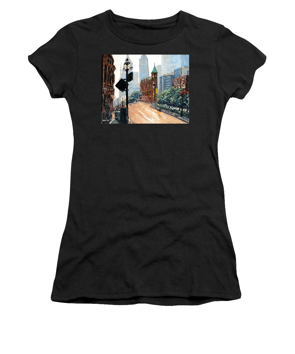 Toronto Women's T-Shirt (Athletic Fit) featuring the painting Front And Church by Ian MacDonald