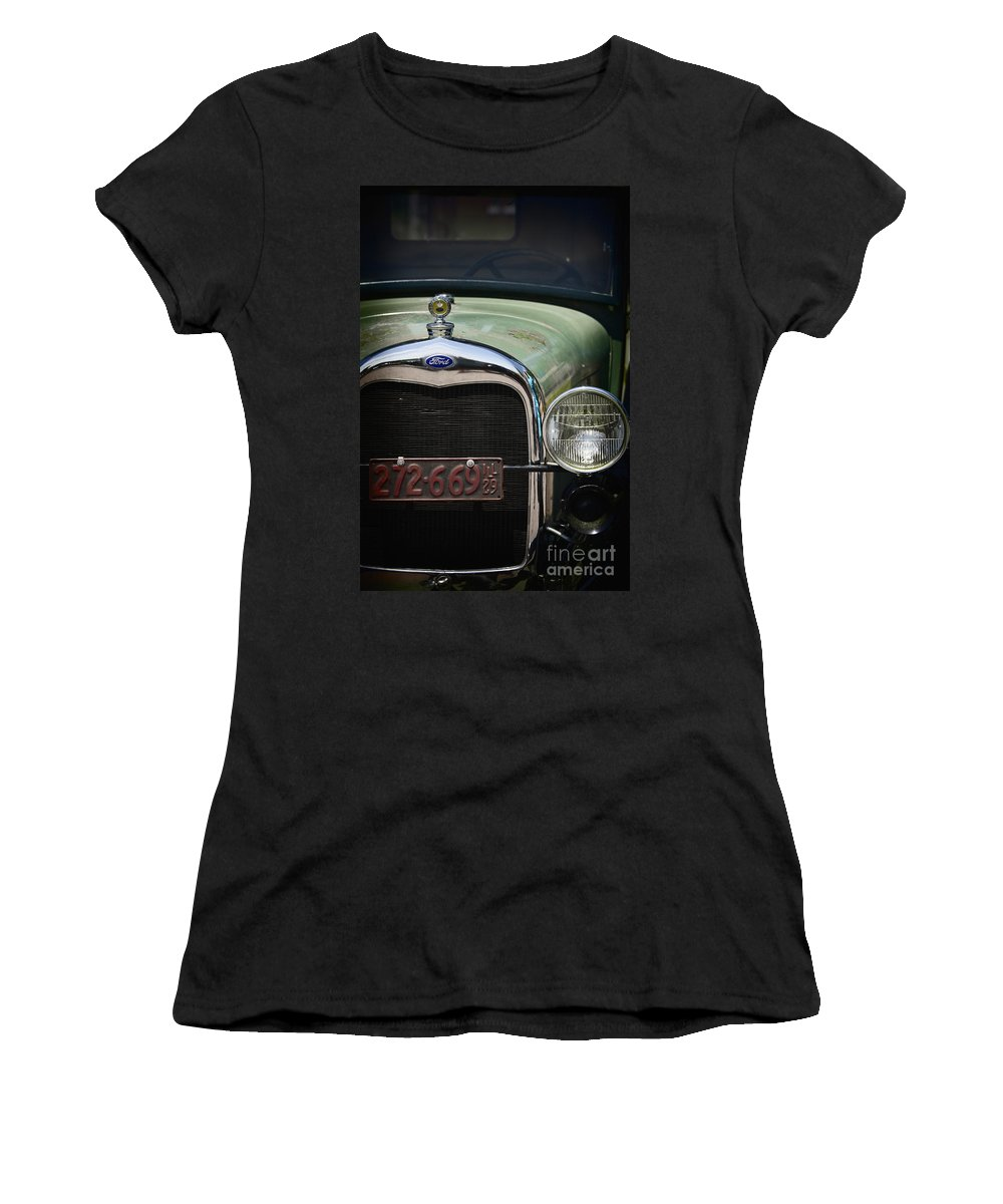Detail; Old; Car; Vintage; Auto; Automobile; Green; Grill; Vehicle; Antique; Transportation; Parked; Ford; Model A; Window; Light; License; Illinois; 1920s Women's T-Shirt featuring the photograph Front End by Margie Hurwich