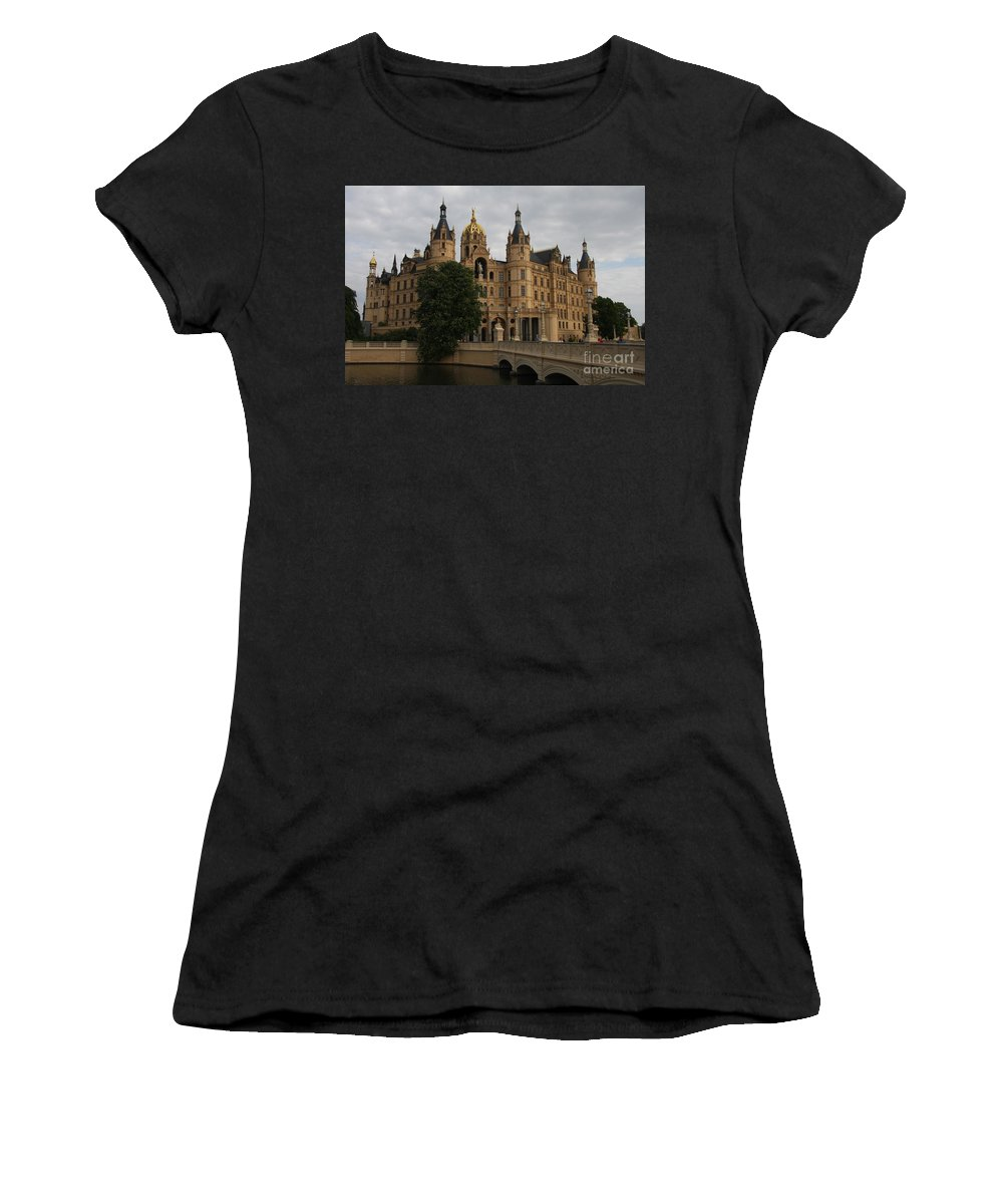 Schwerin Women's T-Shirt featuring the photograph Front View Of Palace Schwerin by Christiane Schulze Art And Photography