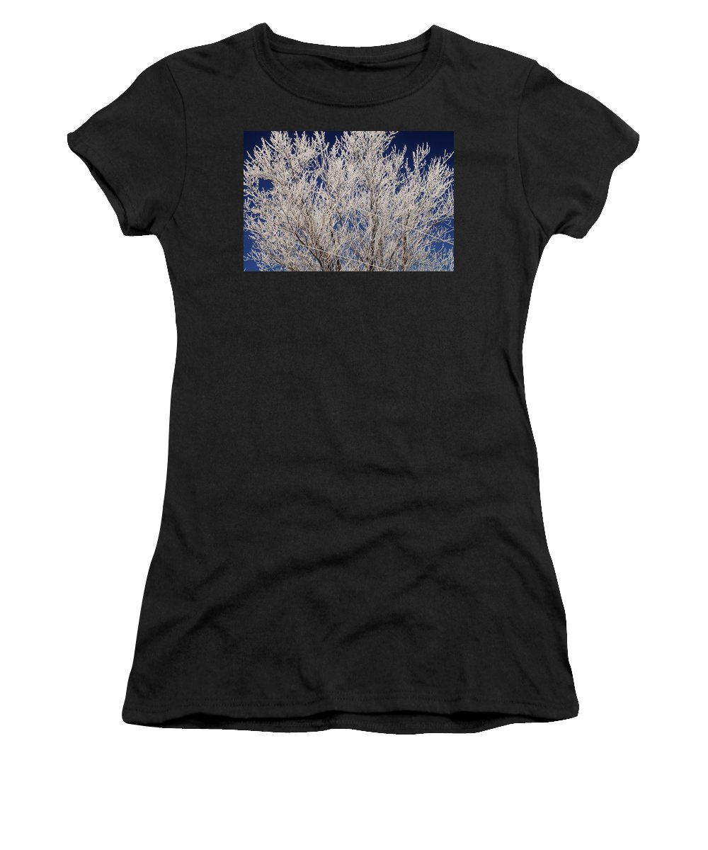 Women's T-Shirt (Athletic Fit) featuring the photograph Frosted Wires by Daniel Thompson