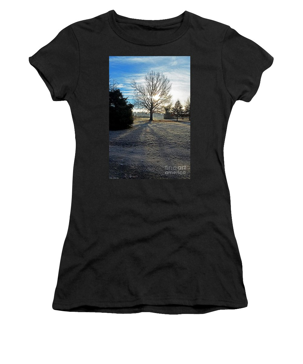 Landscape Women's T-Shirt featuring the photograph Frosty Morning by Debbie Portwood