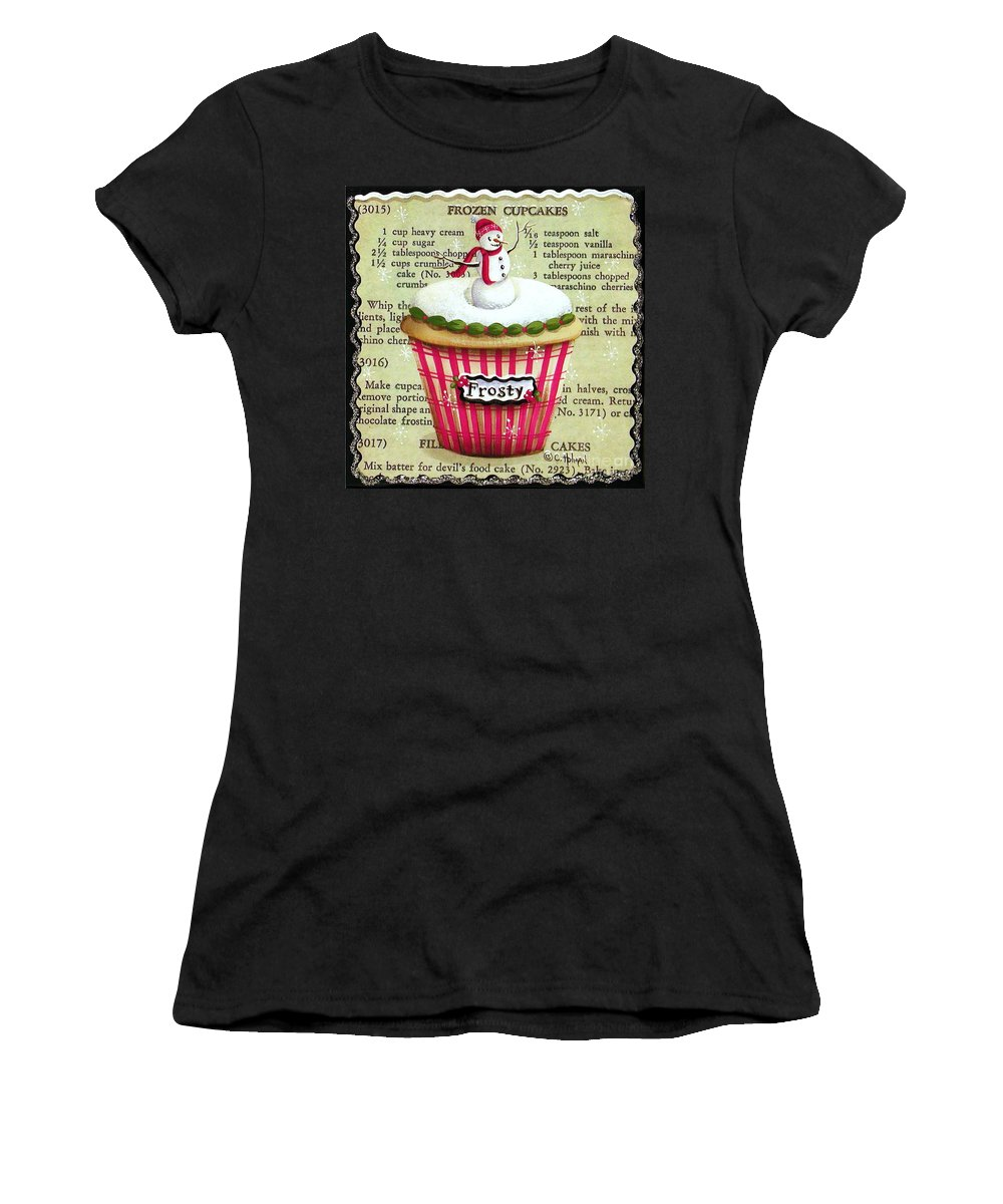 Art Women's T-Shirt (Athletic Fit) featuring the painting Frozen Frosty Cupcake by Catherine Holman