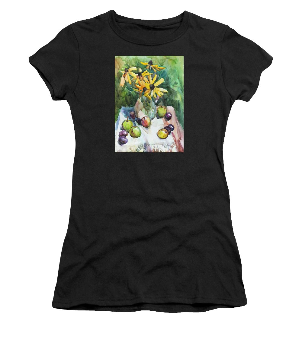 Watercolor Women's T-Shirt (Athletic Fit) featuring the painting Fruits And Camomiles by Juliya Zhukova