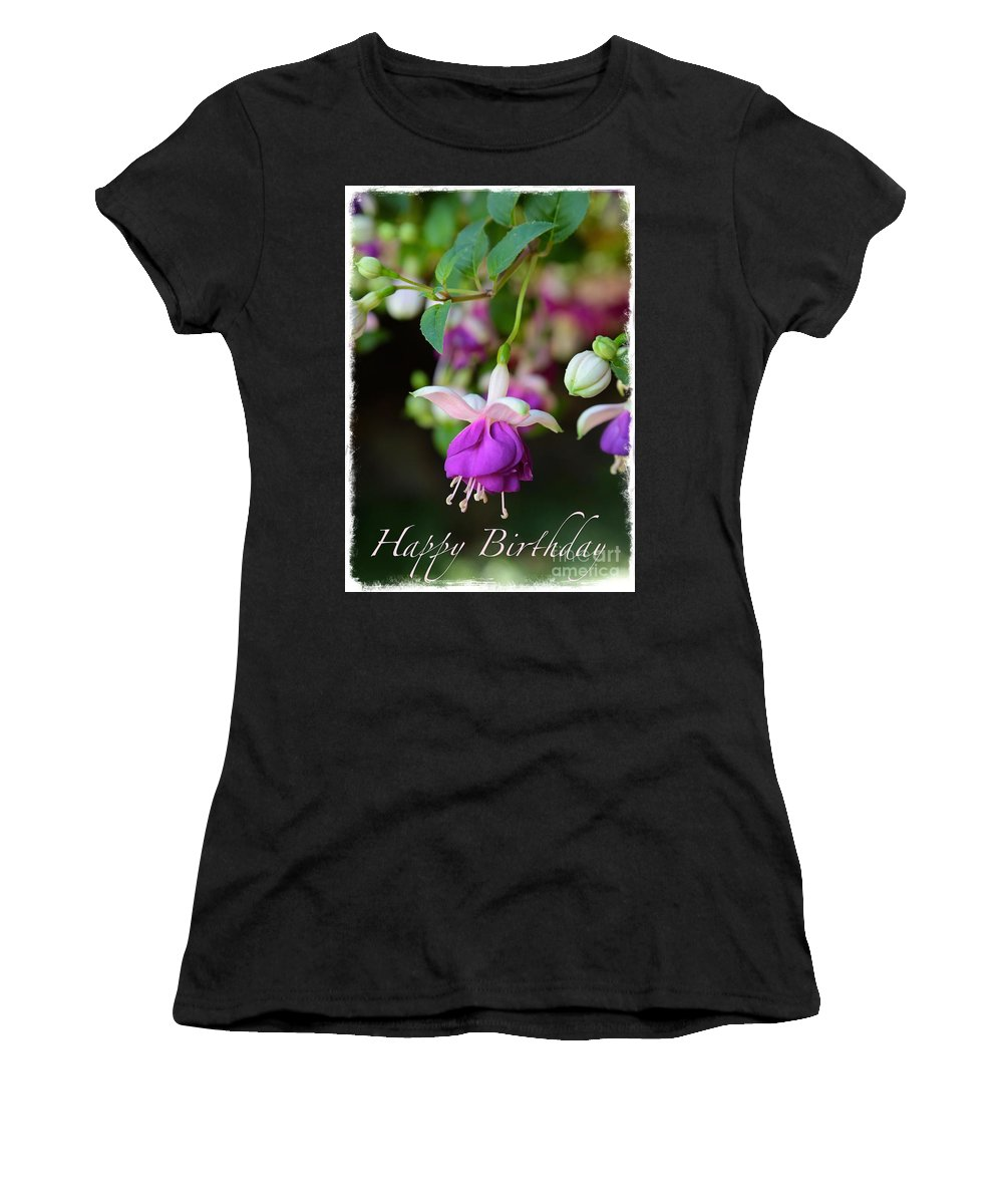 Fuchsia Women's T-Shirt featuring the photograph Fuchsia Birthday Card by Carol Groenen
