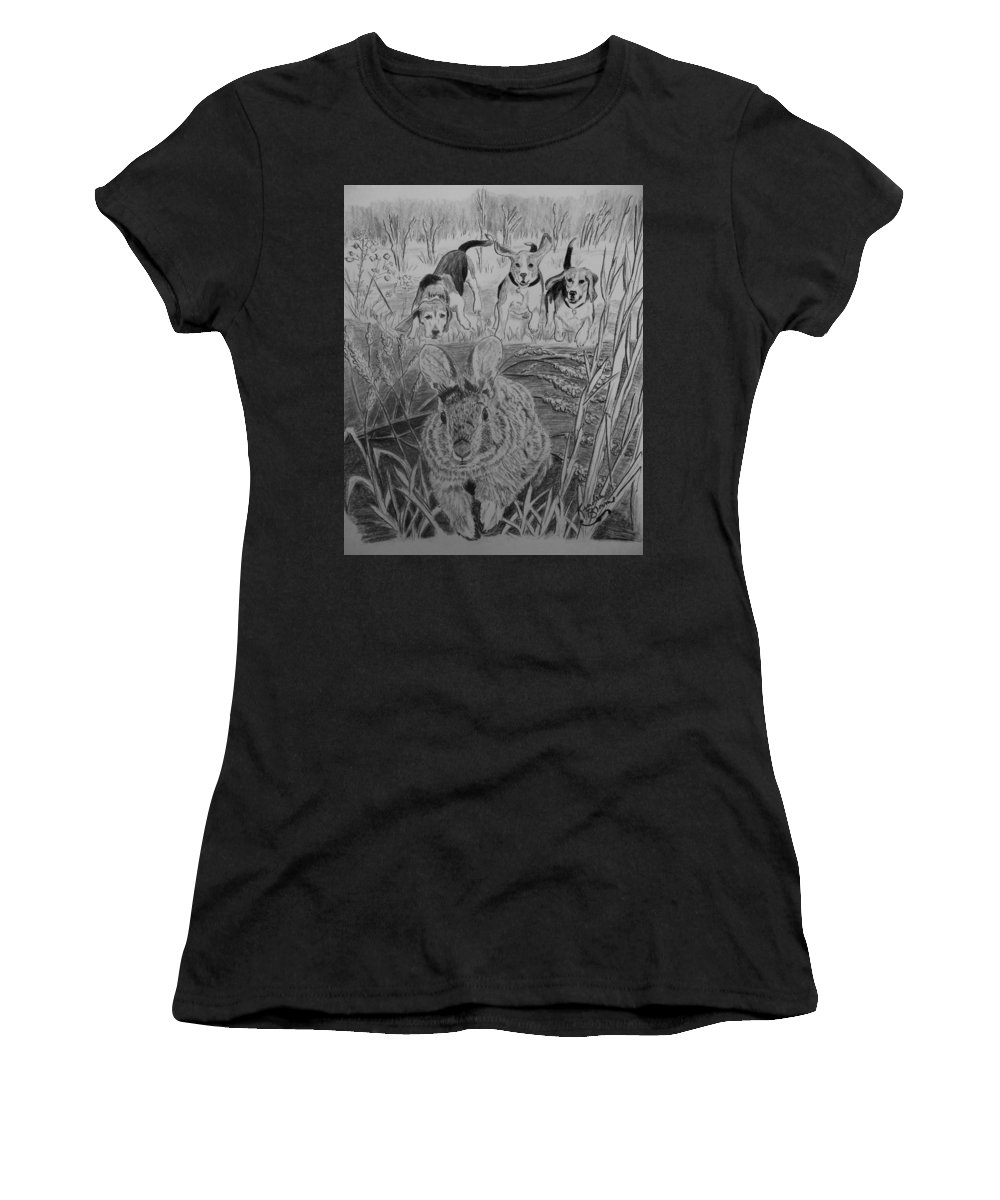 Beagles Women's T-Shirt featuring the drawing Fur Burners by Kendra DeBerry