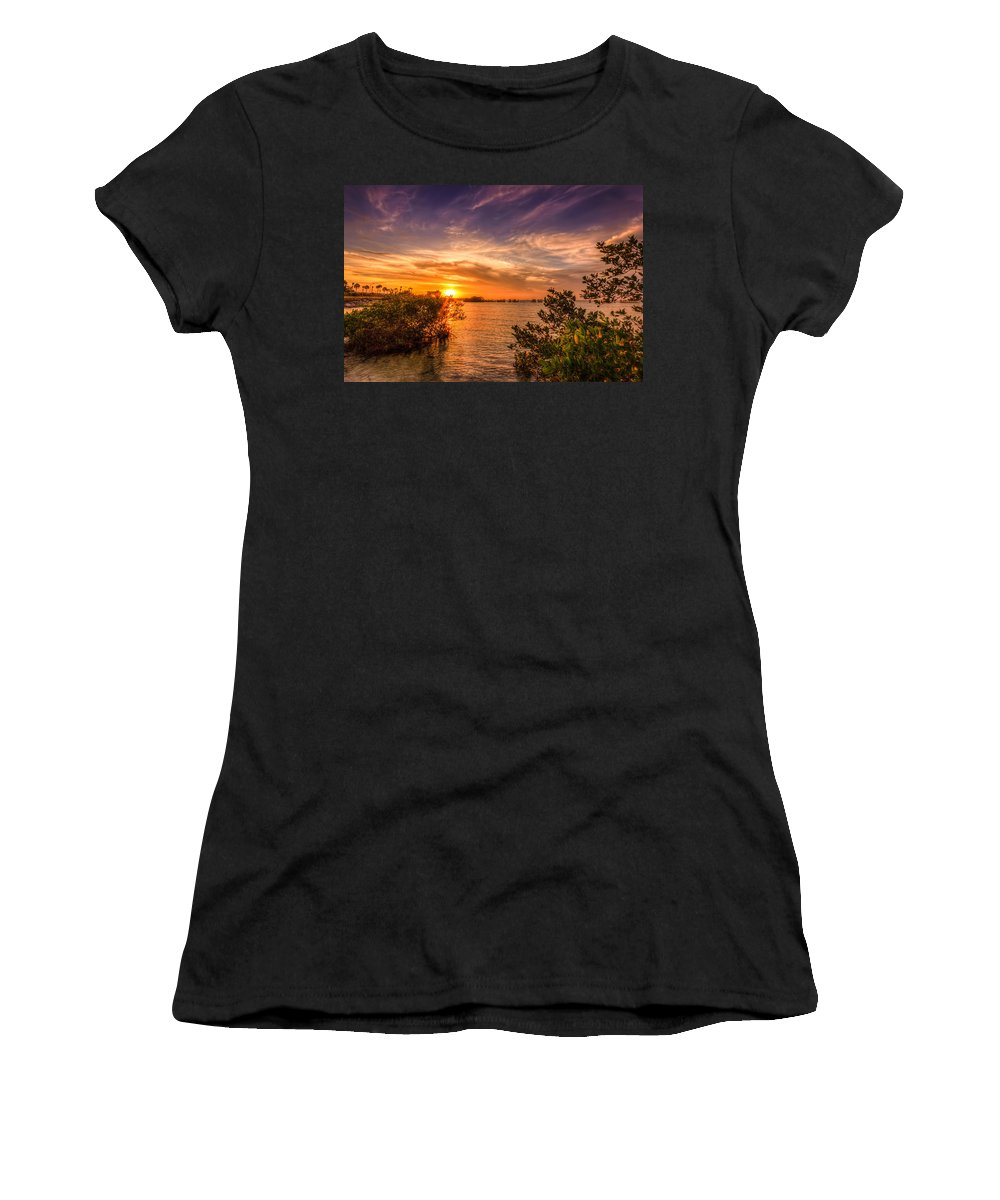 Oceanside Women's T-Shirt (Athletic Fit) featuring the photograph Gandy Sunset by Marvin Spates