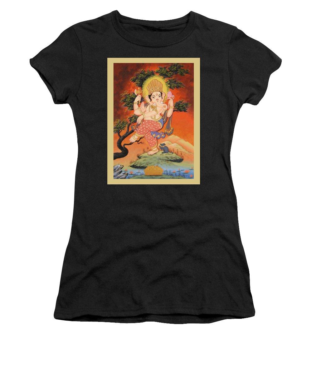 Ganesh Women's T-Shirt featuring the painting Ganesh Art by Ts