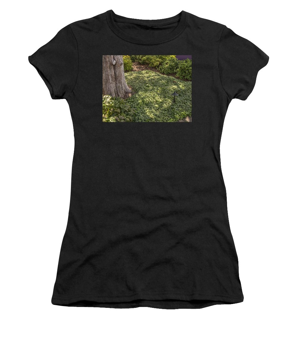 Landscape Women's T-Shirt (Athletic Fit) featuring the photograph Garden Color At Woodward Park 21f by John Straton