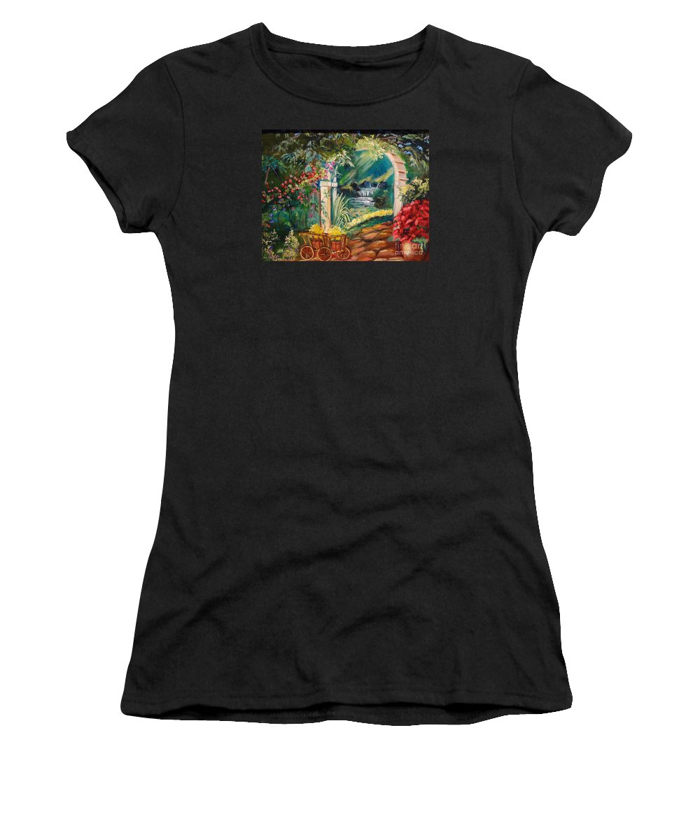Garden Scene Women's T-Shirt featuring the painting Garden Of Serenity Beyond by Jenny Lee