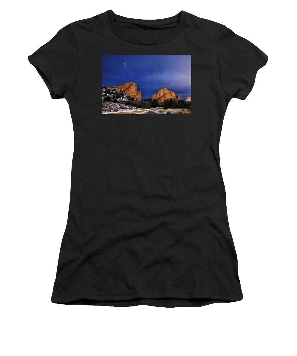 Stars Women's T-Shirt (Athletic Fit) featuring the photograph Garden Of The Gods Star Storm by Darren White