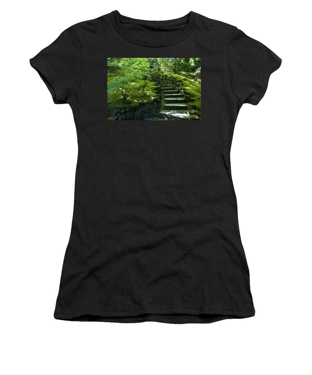 Japanese Garden Women's T-Shirt (Athletic Fit) featuring the photograph Garden Path by Brian Jannsen