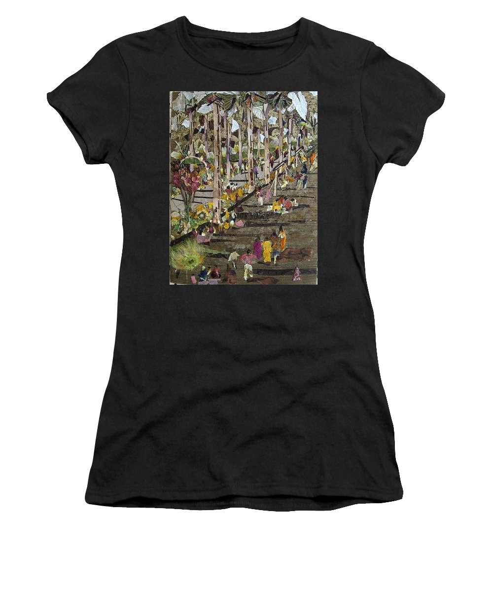 Garden Morning View Women's T-Shirt (Athletic Fit) featuring the mixed media Garden Picnic by Basant Soni