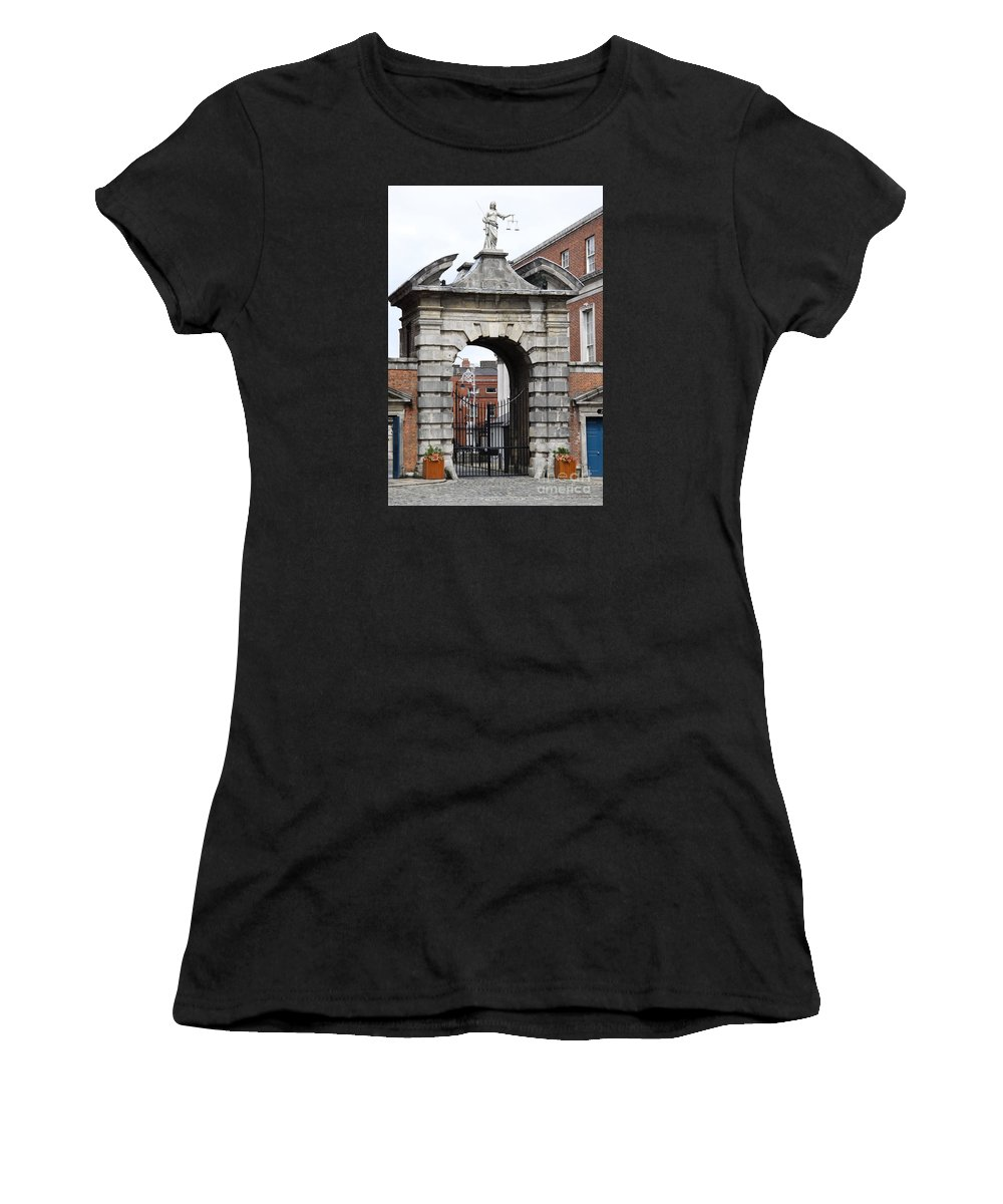 Gate Of Justice Women's T-Shirt (Athletic Fit) featuring the photograph Gate Of Justice - Dublin Castle by Christiane Schulze Art And Photography