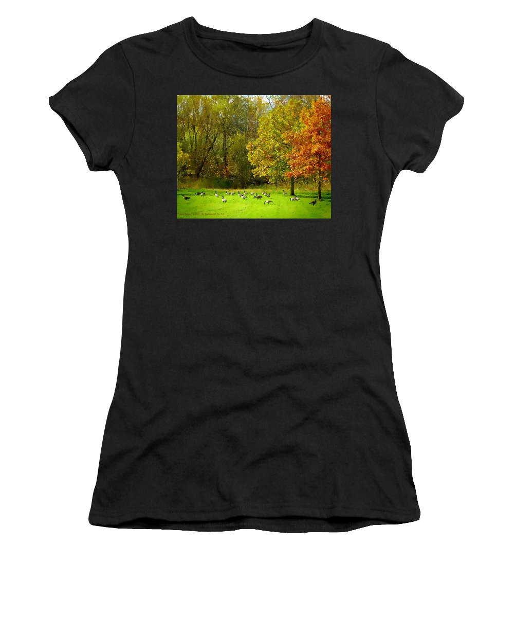 Geese Galore Women's T-Shirt (Athletic Fit) featuring the painting Geese Galore by Michael DArienzo