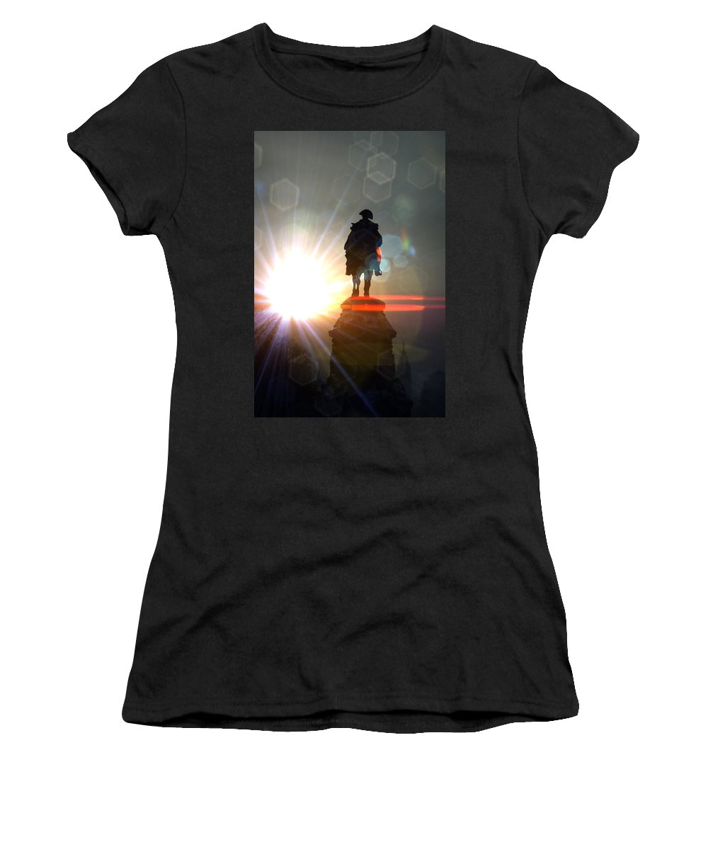 General Statue Women's T-Shirt (Athletic Fit) featuring the photograph General In Sunrise Flares by Alice Gipson