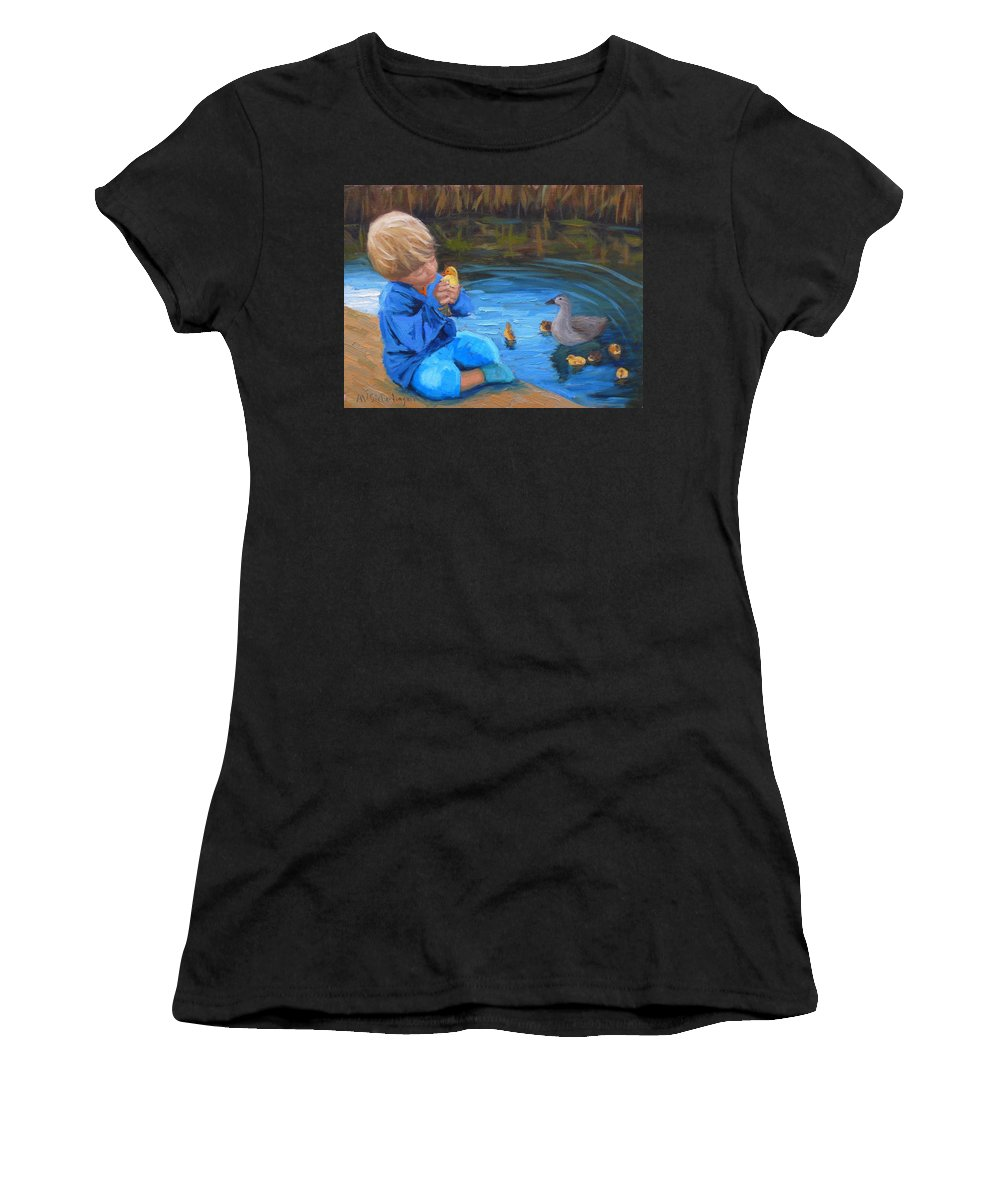 Children Women's T-Shirt featuring the painting Gentle Touch by Aurelia Sieberhagen