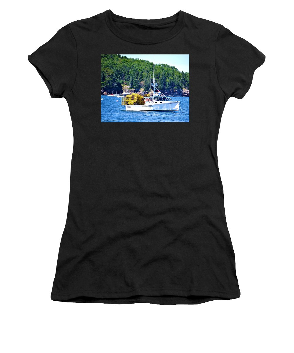 Georgia Madison Women's T-Shirt featuring the photograph Georgia Madison Lobster Boat by Tara Potts