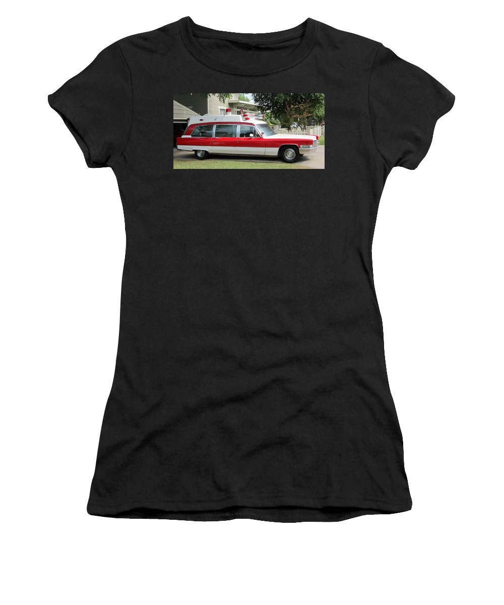 Mckinney Texas Women's T-Shirt featuring the photograph Ghost Buster Style Ambulance by Donna Wilson