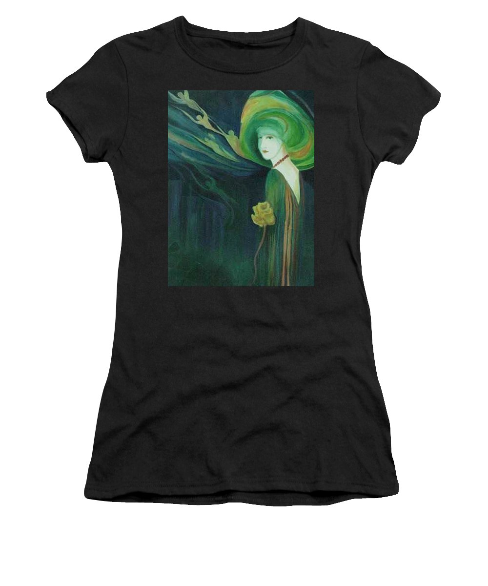 Women Women's T-Shirt (Athletic Fit) featuring the painting My Haunted Past by Carolyn LeGrand