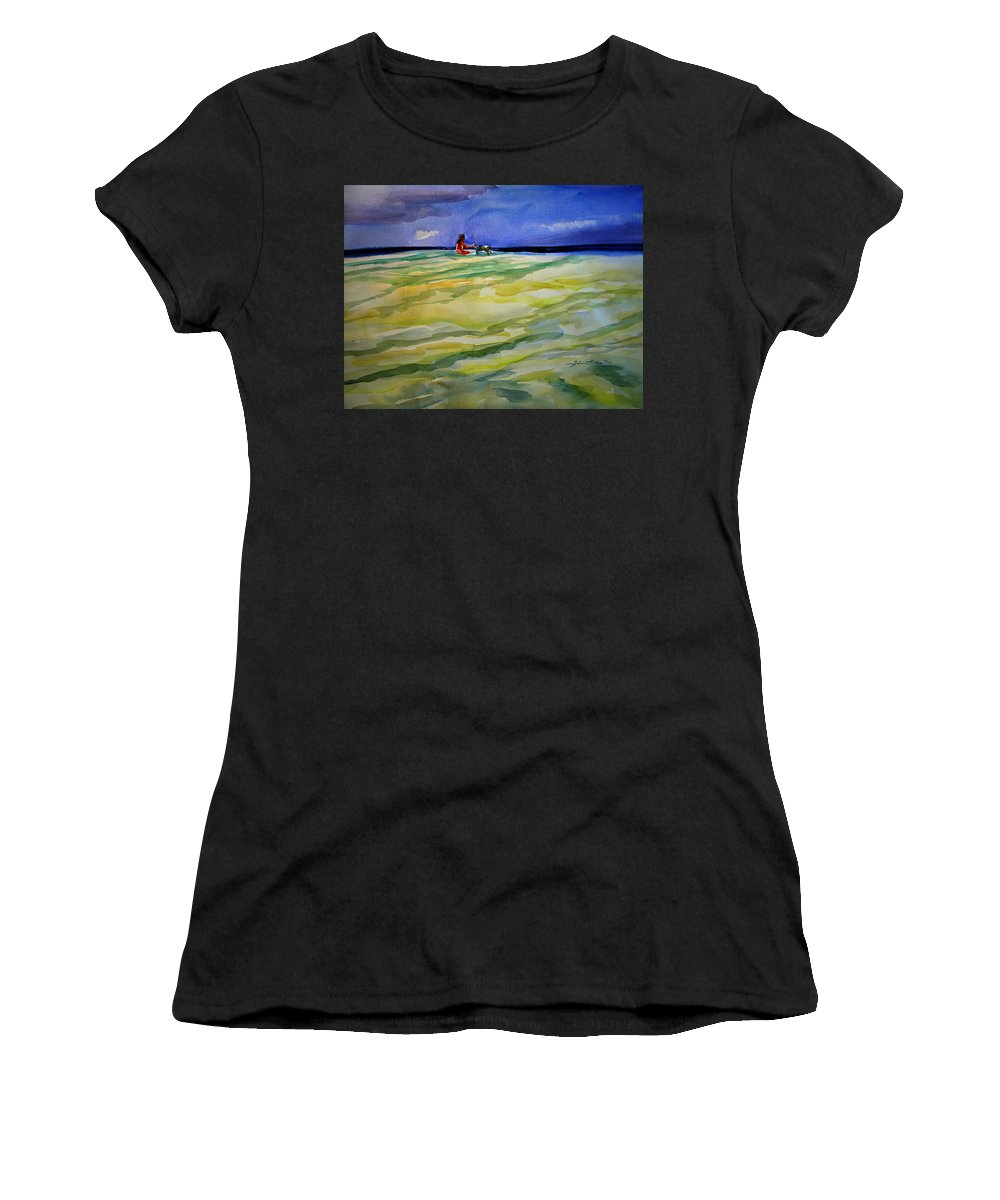 Impressionism Women's T-Shirt featuring the painting Girl With Dog On The Beach by Julianne Felton