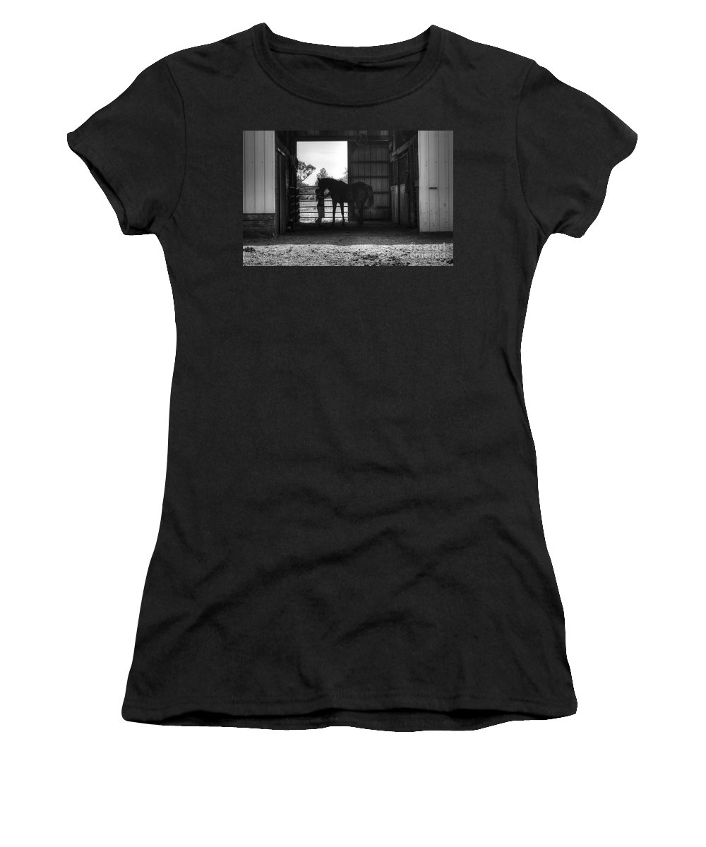 Horse Women's T-Shirt featuring the photograph Girl With Horse by J M Lister