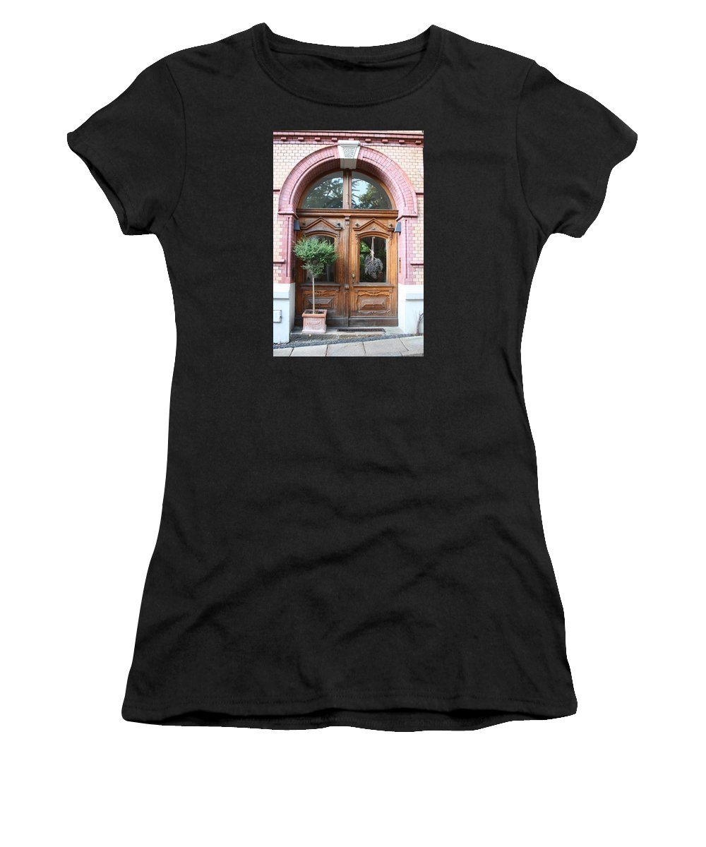 Door Women's T-Shirt (Athletic Fit) featuring the photograph Glazed Door by Christiane Schulze Art And Photography